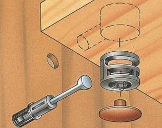 Стяжка эксцентриковая мебельная установка рисунок