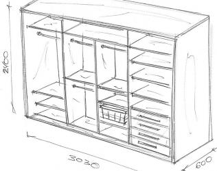 Как самостоятельно нарисовать чертёж шкафа-купе